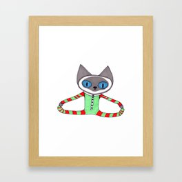 Cute Siamese Cat in his Red and Green Striped Christmas Pajamas Framed Art Print