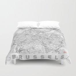 Brussels Map Line Duvet Cover