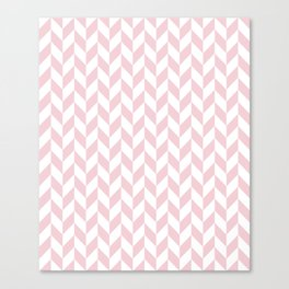Pink and White Herringbone Pattern Canvas Print