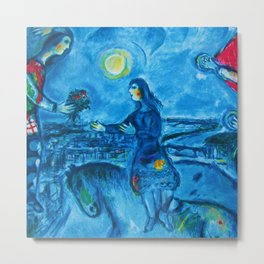Lovers Over Paris, France landscape painting by Marc Chagall Metal Print