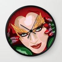 poison ivy Wall Clocks featuring Poison Ivy  by Jordi Hayman Design