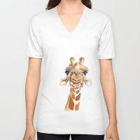 giraffe V-neck T-shirts featuring Giraffe  by Tussock Studio