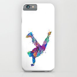 Hip-Hop Boy Colorful Watercor Dancer Gift Colorful Purple Watercolor Art Rap Music Gift RnB Music iPhone Case