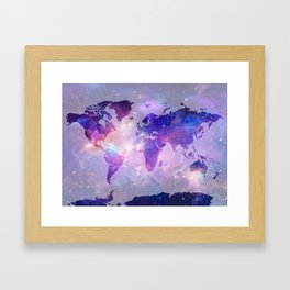 world map galaxy Framed Art Print