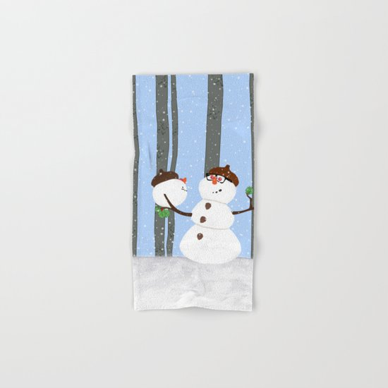 Snowman Funny Holiday Design Hand & Bath Towel