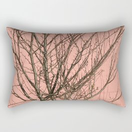 Bare tree against a pink wall Rectangular Pillow
