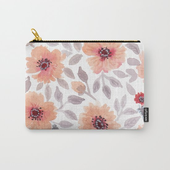 Watercolor . Salmon flowers . Carry-All Pouch