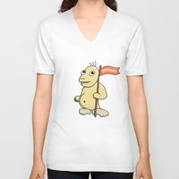cookie monster V-neck T-shirts featuring Funny Cartoon Cookie Monster by Boriana Giormova