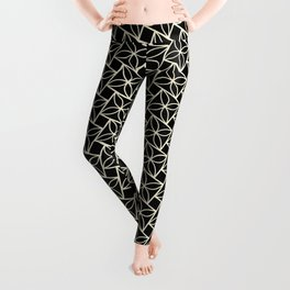 STACK attractive black & off-white squares with floral motif Leggings