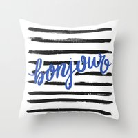 bonjour Throw Pillows featuring Bonjour! by magicmaia