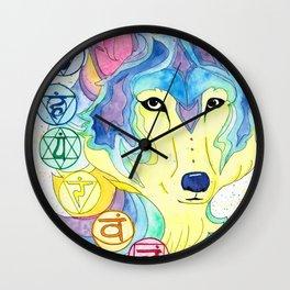 Chakra Wolf Wall Clock