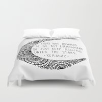 kerouac Duvet Covers featuring Kerouac Mandala Moon by Narts and Crafts
