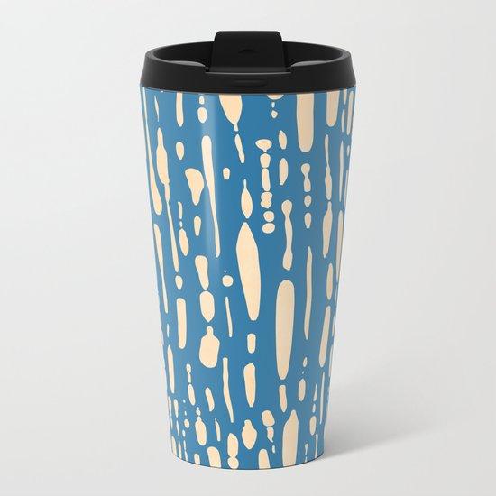 Ice Melt Stripes - Orange Sherbet on Saltwater Taffy Teal Metal Travel Mug