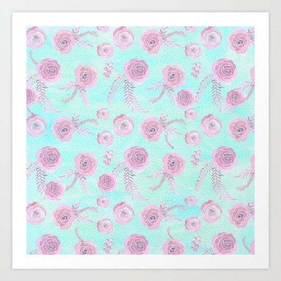 Peony Pattern Pink And Mint Art Print