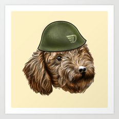Toy Poodle Soldier Art Print