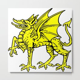 Yellow Welsh Dragon Metal Print