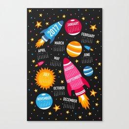 Blast Off to 2017 Calendar Canvas Print