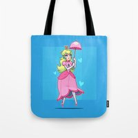princess peach Tote Bags featuring Princess Peach by ZoeStanleyArts