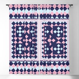 Patchwork Quilt - Pink Blue Navy Blackout Curtain