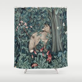 William Morris Forest Fox Tapestry Shower Curtain