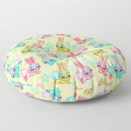 Bunnies and Daisies on Yellow Floor Pillow