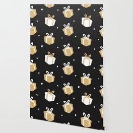 Black Gift Package Pattern Wallpaper
