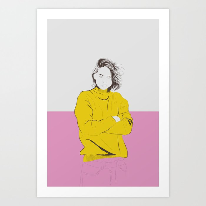 Sunday's Society6 | Color block drawing woman yellow pink art print