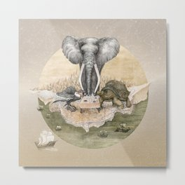 Elephant tea time Metal Print