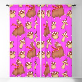 Cute llamas with scarves and funny whimsical little mushrooms seamless pattern design. Blackout Curtain