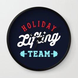 Holiday Lifting Team (Christmas Gym, Workout and Fitness) Wall Clock
