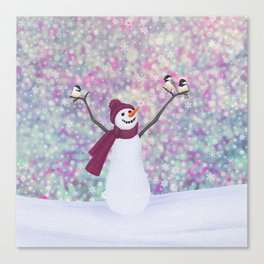 snowman and chickadees Canvas Print