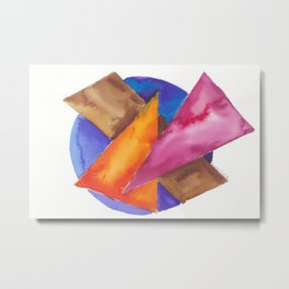 180819 Geometrical Watercolour 6| Colorful Abstract | Modern Watercolor Art Metal Print