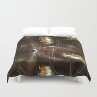 writing Duvet Covers featuring Night Writing by Sky iouan