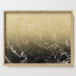 Modern girly luxurious faux gold glitter black marble pattern Serving Tray