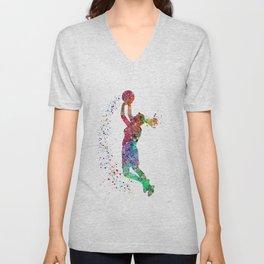 Basketball Girl Player Sports Art Print Unisex V-Neck