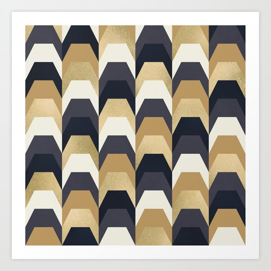 Stacks of Gold and Navy Art Print