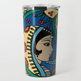 Rainbow Paisley Lady Moroccan Quatrefiol Travel Mug