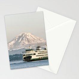 Seattle Bainbridge Island Ferry with Mount Rainier Stationery Cards