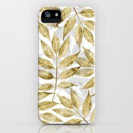 Modern gold autumn leaves design iPhone Case
