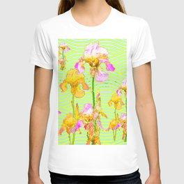 Contemporary Vibrant, Yellow-Purple Iris Pattern Art T-shirt