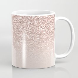Modern sparkles rose gold ombre sequins glitter fancy girly blush pink Coffee Mug