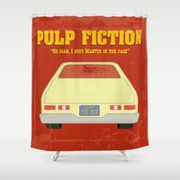 pulp fiction Shower Curtains featuring Pulp Fiction- Oh man! by Robin LD