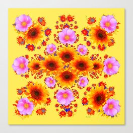 Western Yellow Sunflowers  Pink Roses Patterns Canvas Print