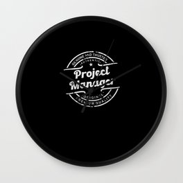 Best Project Manager retro vintage distressed logo Wall Clock