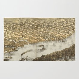 Vintage Pictorial Map of La Crosse WI (1867) Rug