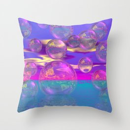 Tropical Morning – Abstract Magenta and Turquoise Paradise Throw Pillow