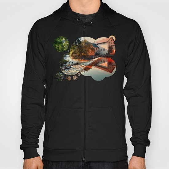 The river, a country house and reflections | waterscape photography Hoody