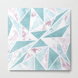 Chic Teal Glitter Pink Marble Geometric Triangles Metal Print