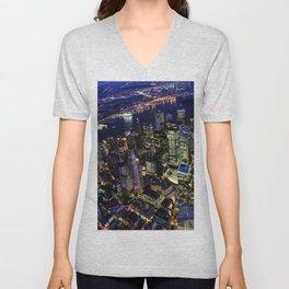 Manhattan by Night Unisex V-Neck