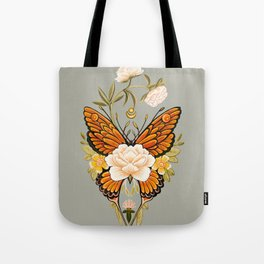 Butterfly Peonies Tattoo Tote Bag